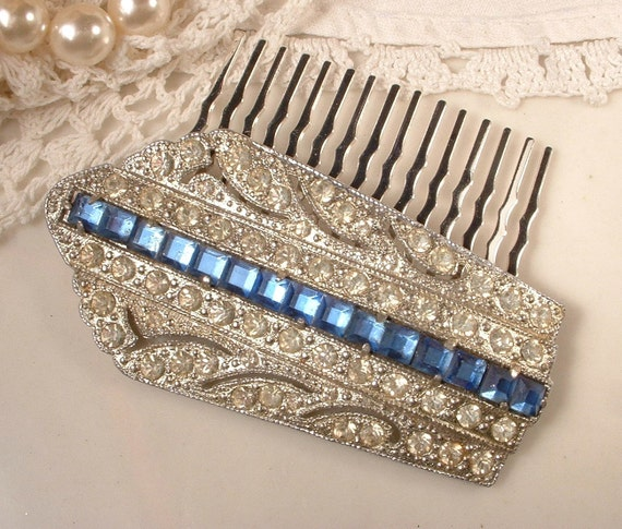 1920s Art Deco Sapphire Blue & Clear Rhinestone Bridal Hair Comb, TRUE Vintage Heirloom Fur Clip OOAK Hair Comb