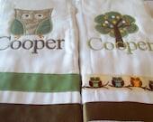 set of 2 personalized custom burp cloths woodland owl and tree