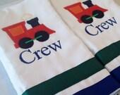 Set of 2 personalized burp cloths train applique