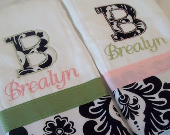 set of 2 personalized monogrammed burp cloths black white pink green damask