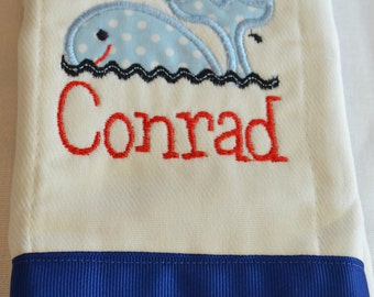 set of 2 custom personalized monogrammed burp cloths whale