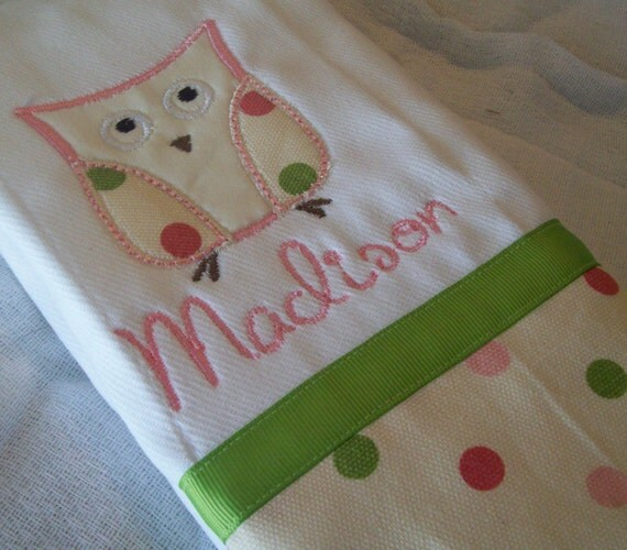 2 personalized chic owl burp cloths pink polka dots