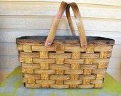 Vintage Rustic Woven Harvest Basket by Kowgirl Kitsch on Etsy