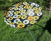 Vintage 1960s Metal Flower Power Tray Table Yellow, Orange Daisies by Kowgirl Kitsch on Etsy
