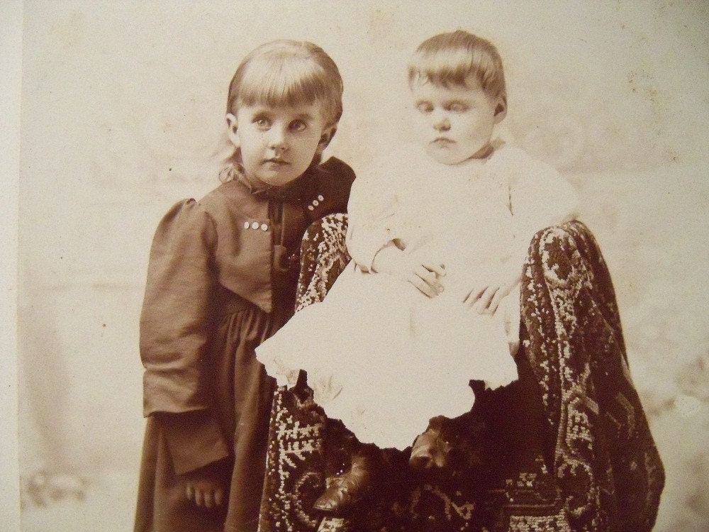 Antique Photo Post Mortem Child With Sister In Mourning