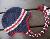 Inventory Reduction Sale--Rustic Patriot Earflap Hat--Navy, Red, Gray