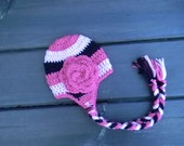Striped Earflap Beanie with Rose--Pinks and Black--Choose Custom Size and Colors