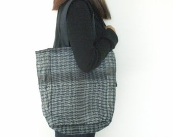 Quilted Bag Large Tote Bag Charcoal Grey Bag