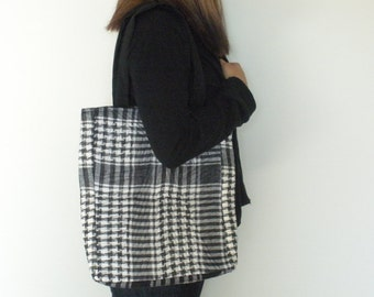 Quilted Tote Bag Large Tote Bag Black and White Bag Market Tote Bag School Bag