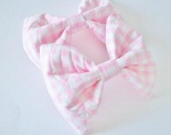 Pink Hair Bow- Gingham Hair Bow- Rockabilly- Kawaii - Women - Teens - Girls