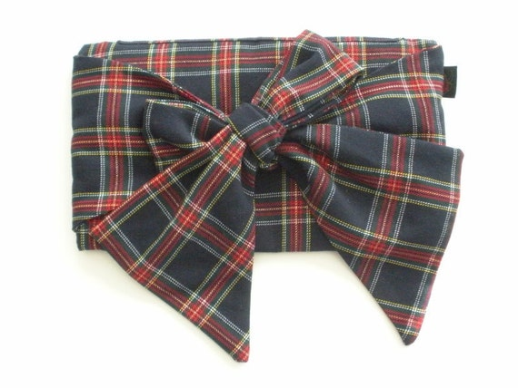 Tartan Plaid Wool Bow Clutch Purse