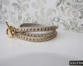Gold Studded Leather Wrap Braelet