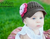 Girl Newsboy Hat, Newsboy Cap, Crochet Newsboy Hat, Toddler Newsboy Hat, Newborn Newsboy Hat, Baby Photo Prop, Knit Newsboy Hat, Girl Hat