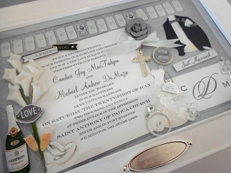Keepsake Wedding Gifts: ELEGANT WEDDING Wedding Invitation Keepsake Box With Engraved