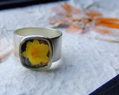 Yellow Flower. Antique Silver Adjustable Photo Ring