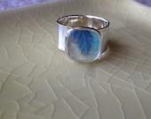 Leaf.  Adjustable Photo Ring.  Sterling Silver