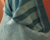 Stripped Teal Blue Turquoise Hooded Over sized Towel