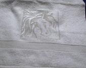 Embossed Horse Head Hand Towel