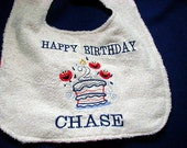 Customized Birthday Balloon and Cake Bib Personalized with your name and Age. Faces Elmo, monkey , princess ,regular balloons