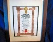 Irish Blessing Machine Embroidered, Irish Decor Words of Inspiration