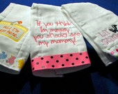 You Pick Choose 3 Burp Cloths Any color Any Print for a boy or a girl.  Custom made and Personalized.