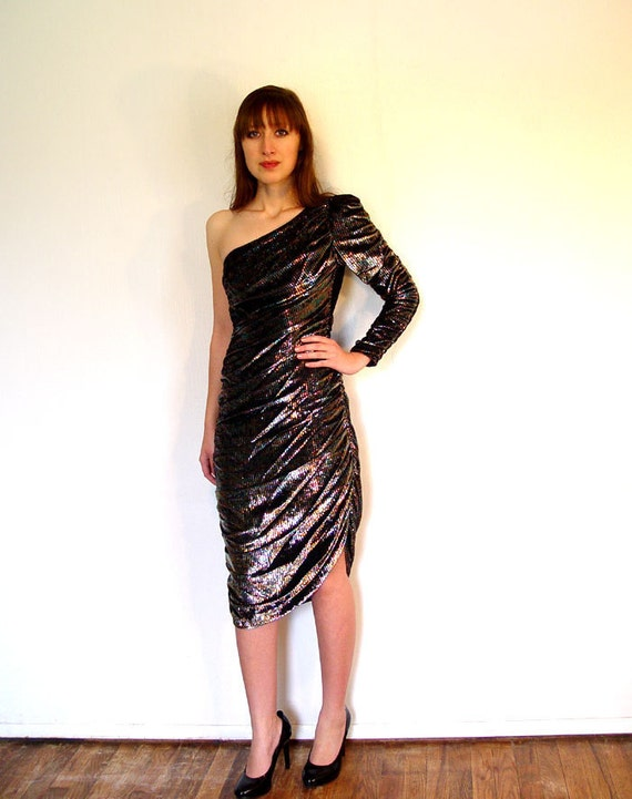 80s Prom Party Dress One Sleeve Asymmetric Dress Metallic  Dress Sm
