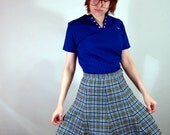 SALE 60s skirt plaid wool - The Teacher's Pet - flared schoolgirl in blue
