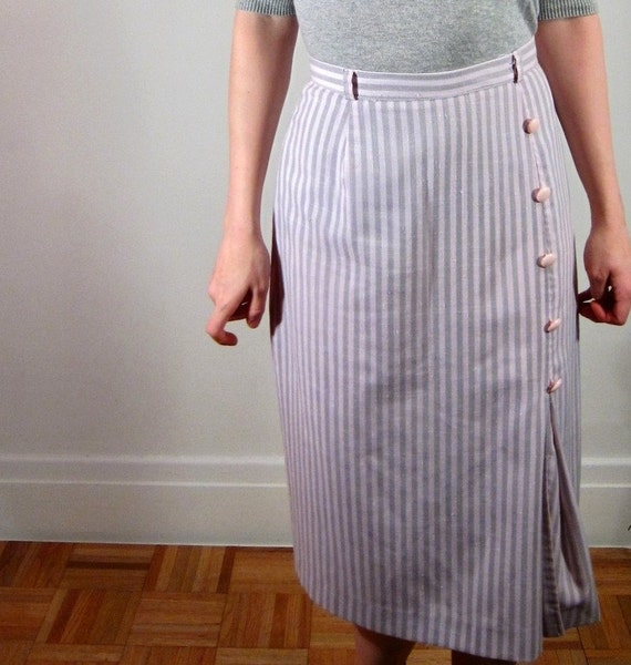 80s pencil skirt - The Sugar Lolita - pink and gray stripes by Missturnstyles on Etsy