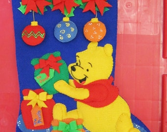REDUCED PRICE///  Free Shipping ///  Hand-stitched felt Disney Winnie the Pooh Stocking  Only one left!!, tradition, heirloom