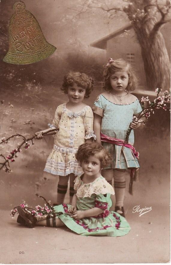 1910s..Sweet Little Girls...Blossoms...Friendship..Easter...original vintage french postcard