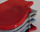 Ceramic Birdie Bowl In Scarlet Red - Hand Built Pottery - Stoneware And Porcelain Blend