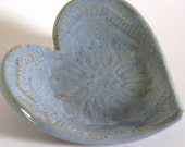 "Ceramic Heart Dish - ""Vintage Style/Shabby Chic"" - Country Blue - Wedding Ring Bowl/Ring Bearer Bowl/Candle Holder/Home Decor/Gift"