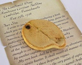 Ceramic Leaf Pendant - Focal Point/Necklace/Gift Tag - Goldenrod - Handmade Pottery
