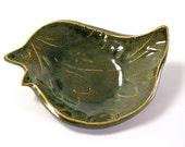 Ceramic Birdie Bowl - Hummingbird Green - Home Decor/Spring/Summer/Ring Bowl/Gift - Handmade Pottery