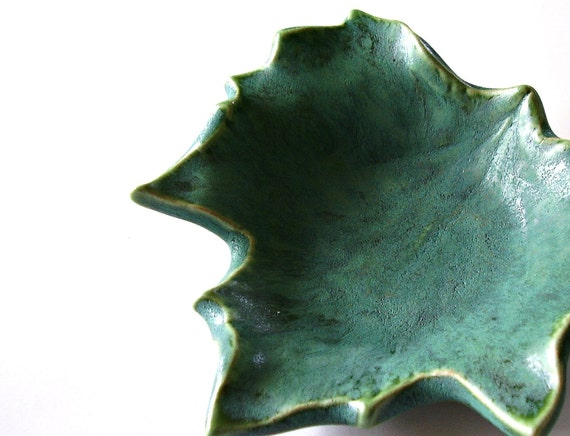 "Ceramic Sycamore Leaf - ""Southern Woods"" - Speckled Moss - Mothers Day/Spring/Home Decor - Handmade Pottery"