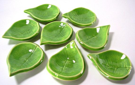 Tiny Ceramic Leaves - Tea Light Holders/Ring Holders/Spoon Rest/Tea Bag Holder/Home Decor - Set Of Two - Handmade Pottery - Spring Green