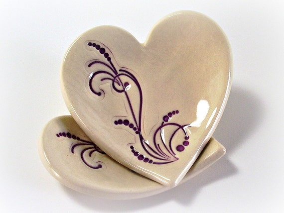 Ceramic Heart Dish - Ring Bearer Bowl/Wedding Ring Bowl/Ring Bowl/Spring/Summer/Home Decor/Gift - Off White and Purple - Handmade Pottery