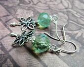 Butterfly and Green Cut Glass Sterling Silver Dangle Earrings