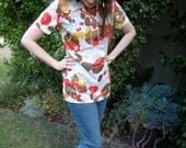 Retro 1960s Psychedelic Flowers Tunic Top
