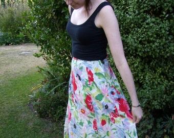 Vintage Floral 1970s Skirt
