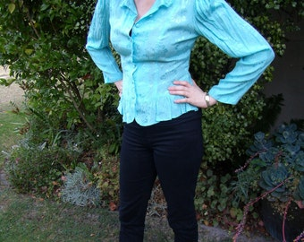 1980s Turquoise Neo Romantic Frilled Waist Shirt