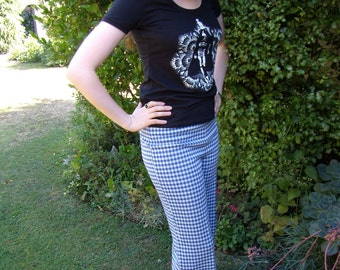 Vintage 1970s Blue and White Checked Trousers