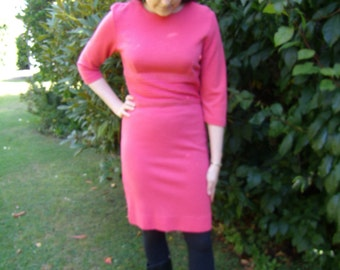 1960s Hot Pink Mad Men Style Wiggle Dress