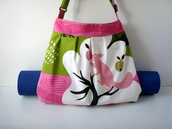 Yoga Mat Bag Pink Squirrel with Straps for Yoga Mat Handmade hobo cross body BabiminiS