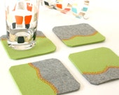 Felt Coasters in Green and Gray Merino Wool with Orange Top-Stitching