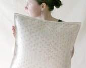 Felt Pillow in White Merino Wool with Orange and Yellow Stitching