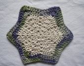 Hand crocheted star-shaped cotton washcloth