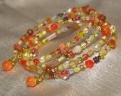 Beaded Bangle Wrap Bracelet in Candy Corn Colors ,  Medium - Large