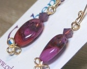 Magenta and Purple Crazy Lace Agate Earrings on Gold Filled French Wires