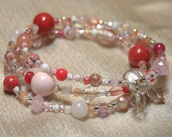 Flamingo Pink Beaded Bangle Bracelet ,  Medium - Large